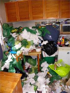 déchets partout dans la pièce: syndrome de diogène